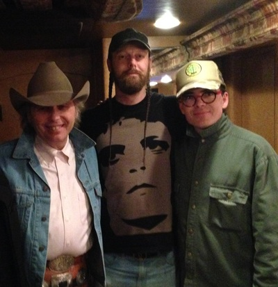 Image of Dwight Yoakam Dan Grimm and Jonathan McEuen backstage at Ventura Theater